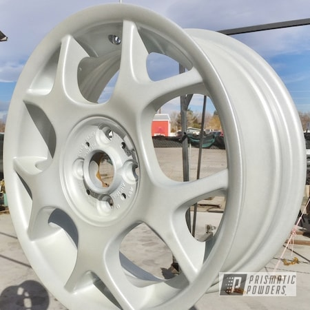 Powder Coating: Wheels,Mini Cooper,rockin rims,Applied Plastic Coatings,Mini Cooper Wheels,White/Silver PMB-2798