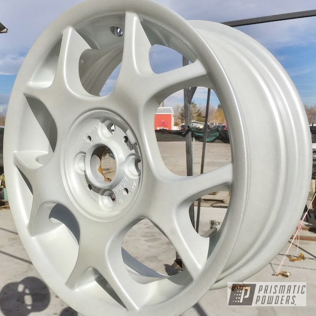 Powder Coating: Wheels,Mini Cooper,rockin rims,Applied Plastic Coatings,Mini Cooper Wheels,White/Silver PMB-2798