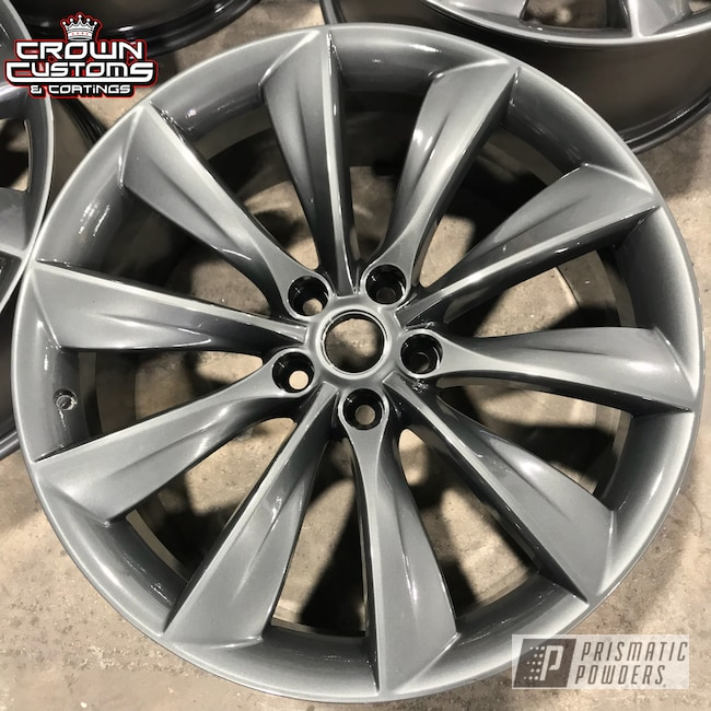 Powder Coating: Wheels,Automotive,Evo Grey PMB-5969,Clear Vision PPS-2974,Tesla Wheels,Tesla Wheel