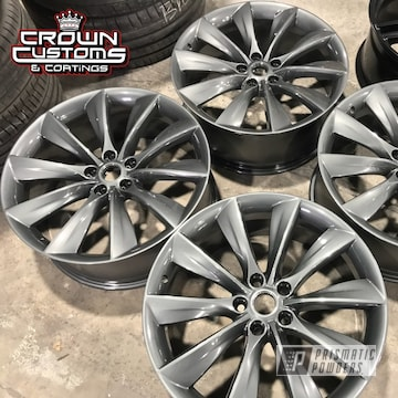 Tesla Wheels Done In Evo Grey With Clear Vision Top Coat