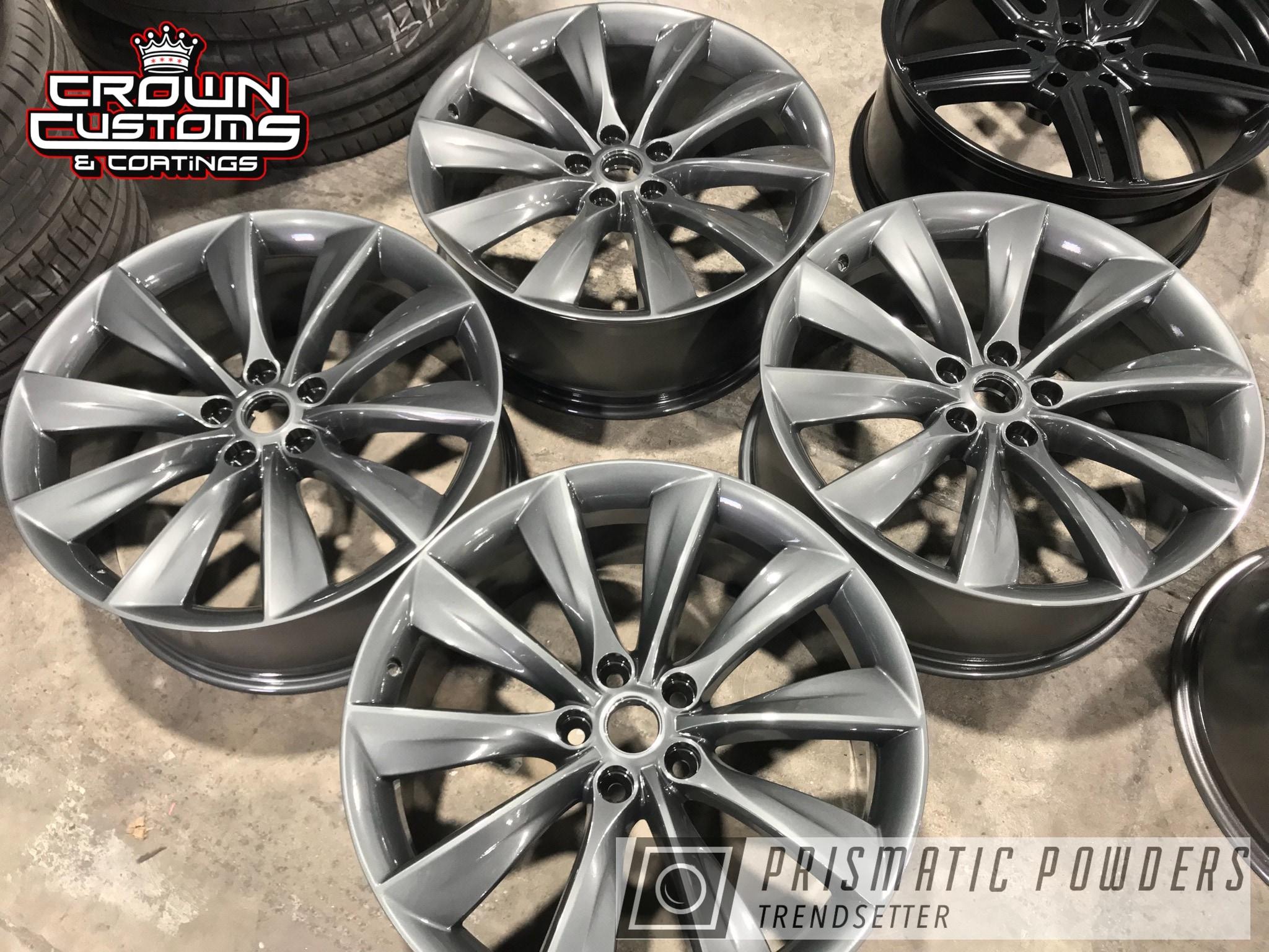 Powder Coating: Wheels,Automotive,Evo Grey PMB-5969,Clear Vision PPS-2974,Tesla,Tesla Wheels