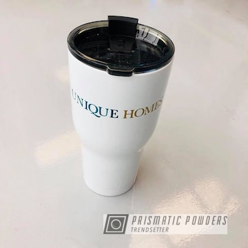 Customized Cup Powdered In Bmw Blue, Goldtastic And Polar White