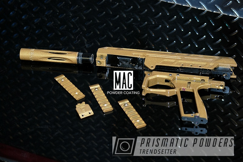 Powder Coating: Paintball Gun,Prismatic Gold HMB-4137,Spyder Paintball Gun