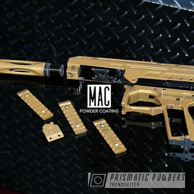 Powder Coating: Paintball Gun,Prismatic Gold HMB-4137,Spyder Paintball Gun