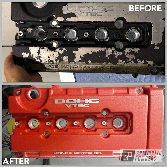 Powder Coating: Automotive,Honda,Exhaust,Vtec,Car Parts,Desert Red Wrinkle PWS-2762,Valve Cover