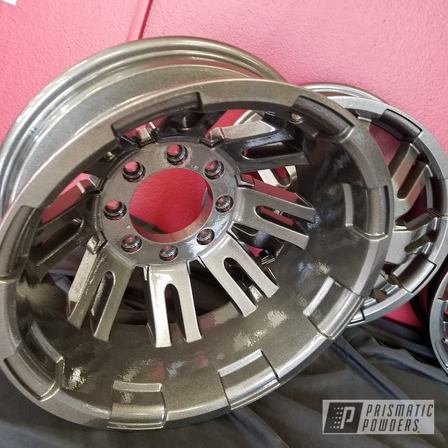 Powder Coating: Wheels,Automotive,Clear Vision PPS-2974,Rims,Kingsport Grey PMB-5027,Two Coat Application,Dually Rims