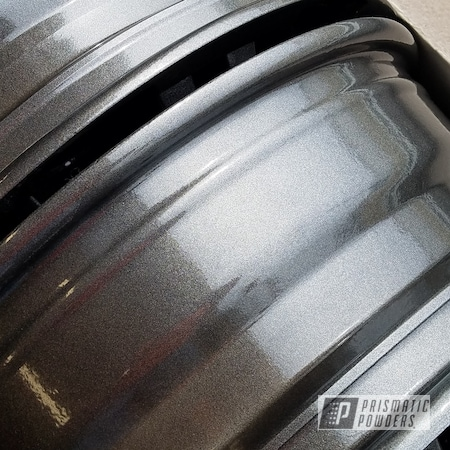 Powder Coating: Wheels,Automotive,Clear Vision PPS-2974,Rims,Kingsport Grey PMB-5027,Two Coat Application,Dually Rims