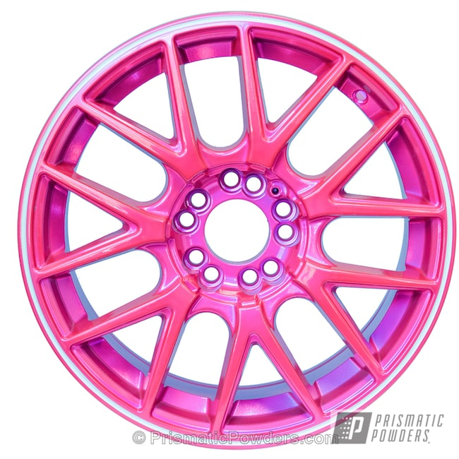 Powder Coating: Wheels,Automotive,Clear Vision PPS-2974,Custom Wheel,SUPER CHROME USS-4482,chrome,Three Powder Application,Pink Panther Wheel,Clear Coat Applied,Corkey Pink PPS-5875