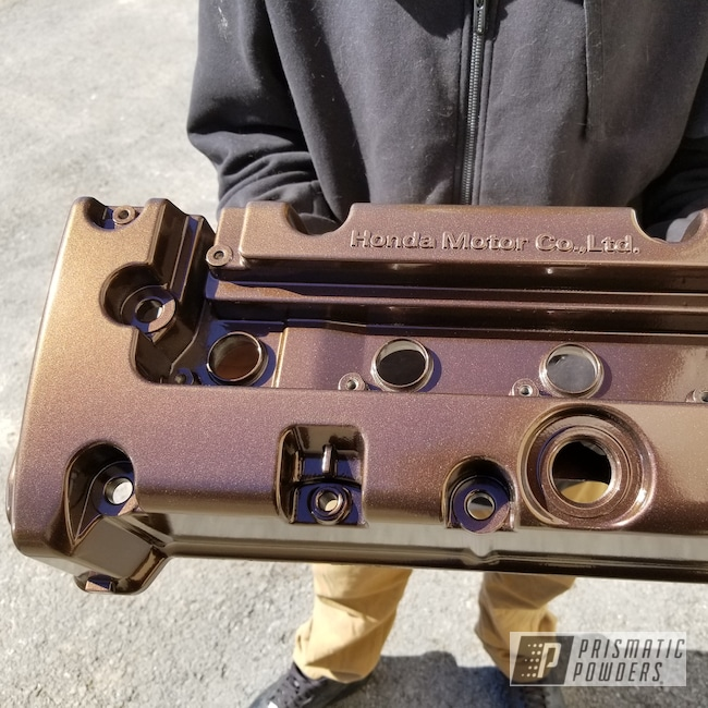 Powder Coating: Automotive,Powder Coated Acura Valve Cover,Acura,Valve Cover,Misty Rootbeer PMB-1081