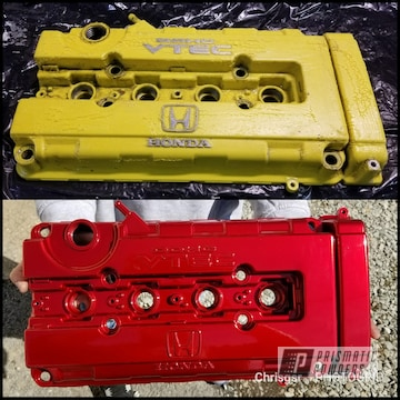 Restored Honda Vtex Valve Cover Coated In Lollypop Red