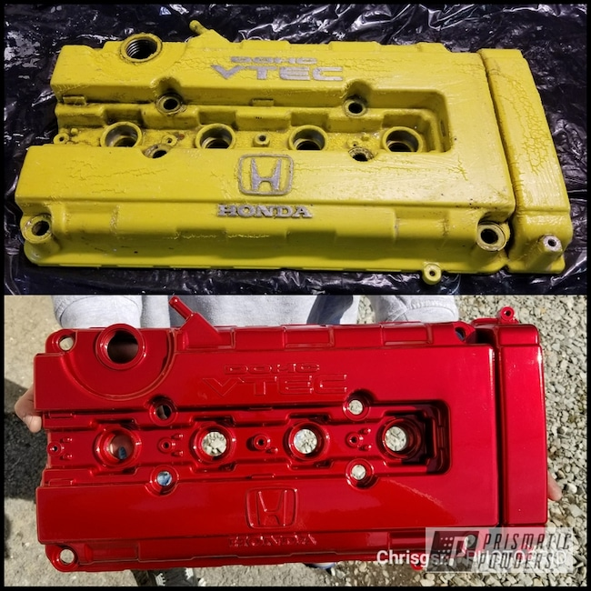 Powder Coating: Automotive,Honda Valve Cover,Honda,Restoration,Vtec,Lollypop Red UPS-1506,Valve Cover