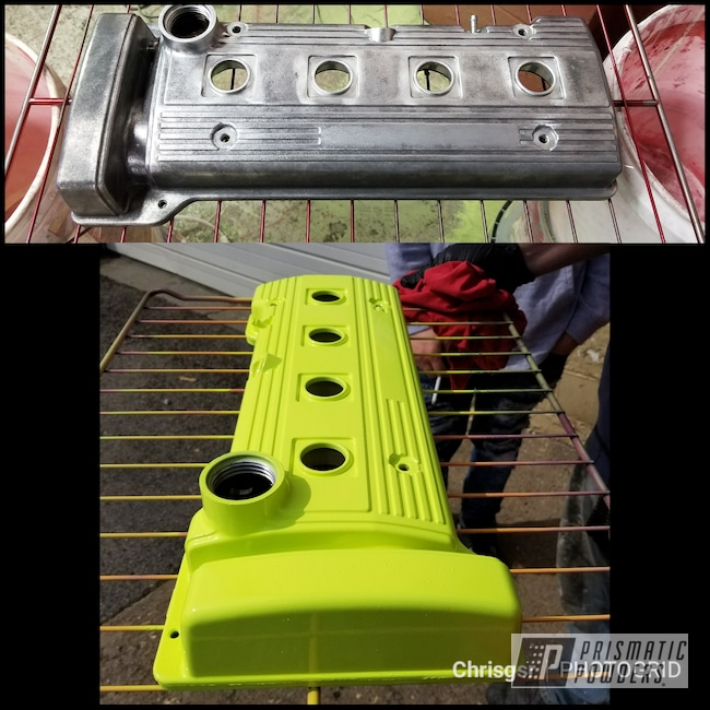 Powder Coating: Automotive,Toyota Valve Cover,Celica,Neon Yellow PSS-1104,intake