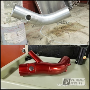 Automotive Intercooler Pipe Coated In Lollypop Red