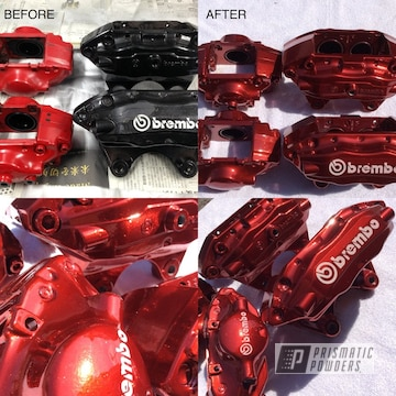 Brembo Brake Calipers Coated In Lollypop Red And Super Chrome