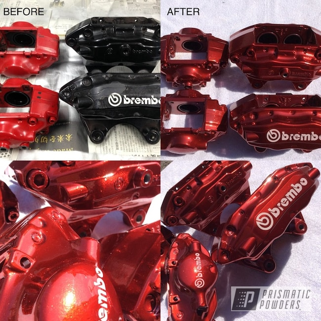 Powder Coating: Automotive,SUPER CHROME USS-4482,LOLLYPOP RED UPS-1506,Brake Calipers,Brembo Brake Calipers,Before and After