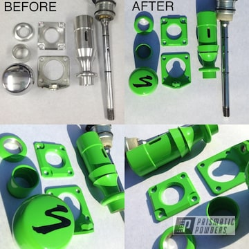 Parts Coated In Kiwi Green And Ink Black