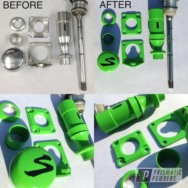 Powder Coating: Automotive,Ink Black PSS-0106,supra,Car Parts,Before and After,Kiwi Green PSS-5666