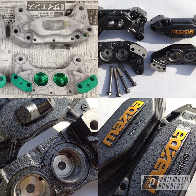 Powder Coating: Automotive,Brake Calipers,Mazda,Brassy Gold PPS-6530,Before and After,Silver Artery PVS-3014