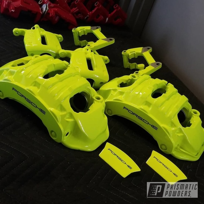 Powder Coating: Automotive,Calipers,Porsche,Neon Yellow PSS-1104,Porsche Brake Kit,Custom Brake Calipers