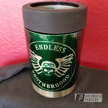 Can Koozie Coated In Illusion Green And Clear Vision
