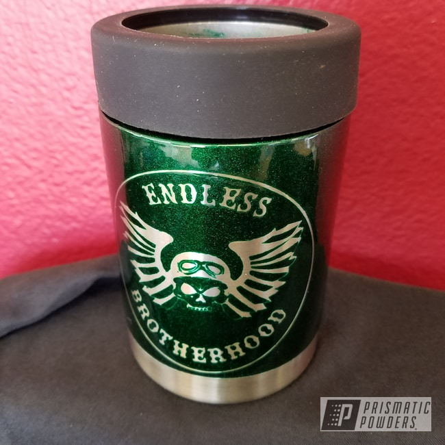 Powder Coating: Clear Vision PPS-2974,Two Stage Application,Illusion Green PMS-4516,Custom Drinkware,Custom Cup,Can Koozie