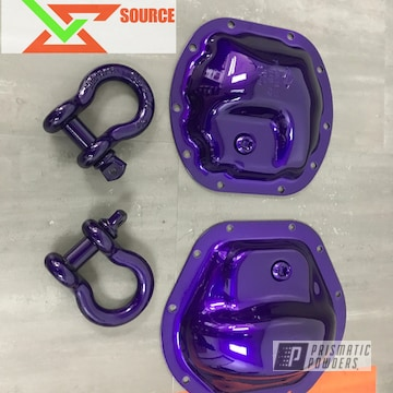 Differential Covers And D-rings Coated With Super Chrome Base And Candy Purple Top Coat