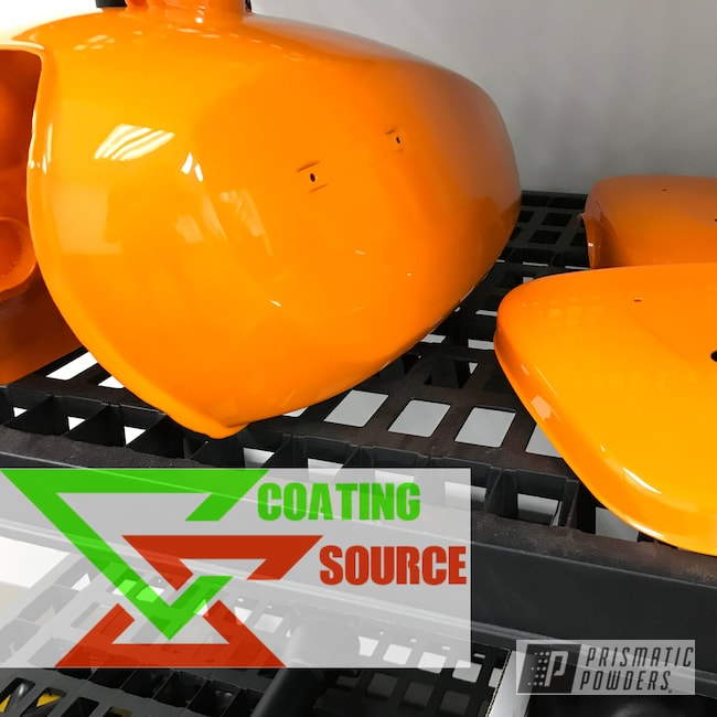 Powder Coating: Clear Vision PPS-2974,Motorcycles,Juju Orange PSS-1791,Motorcycle Gas Tank