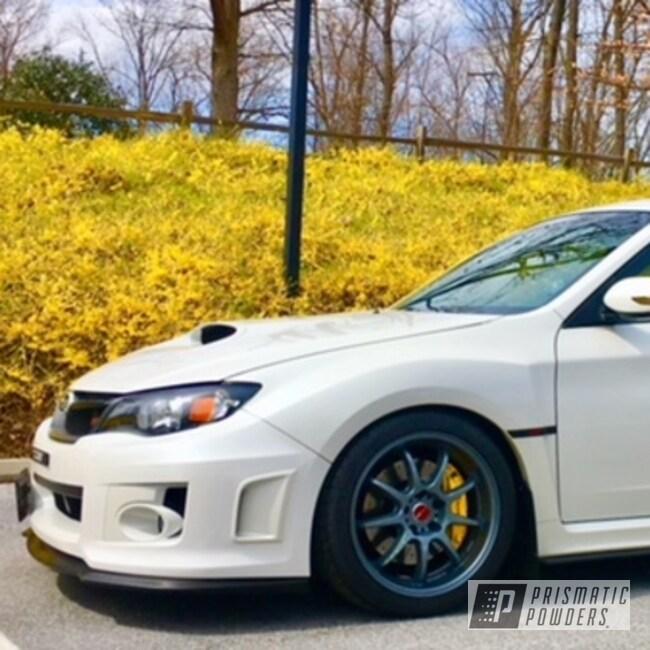 Powder Coating: Wheels,Powder Coated Subaru Wheels,Automotive,Single Stage Application,Charcoal Mist PMB-5408,Subaru