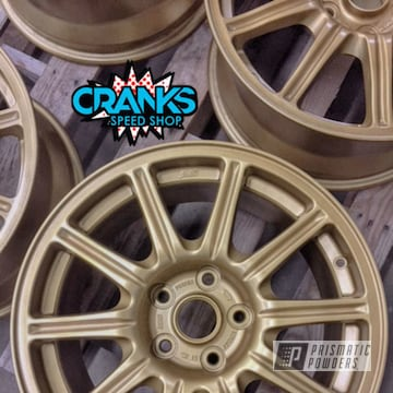 Subaru Sti Rally Car Wheels Refinished In Spanish Gold
