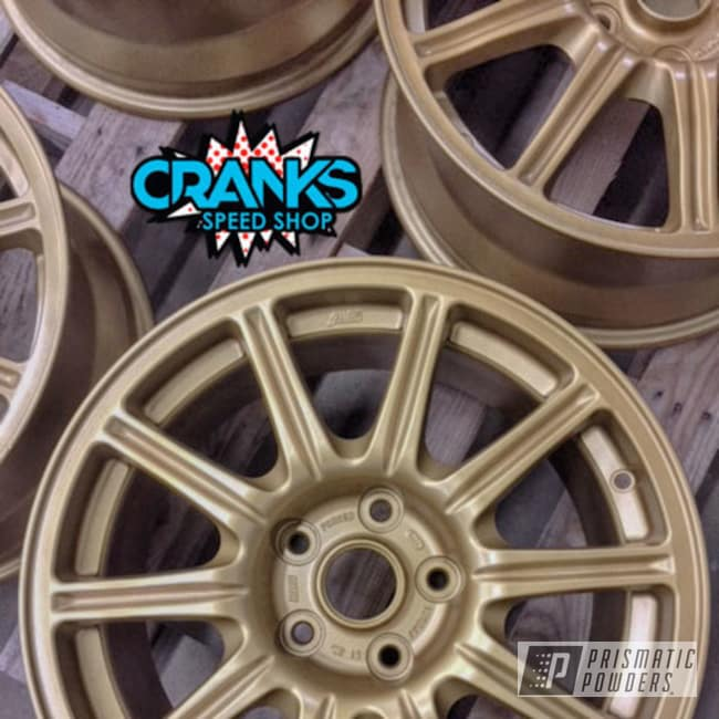 Powder Coating: Wheels,Automotive,STI,BBS Wheels,Subaru,gold,Spanish Gold EMS-0940