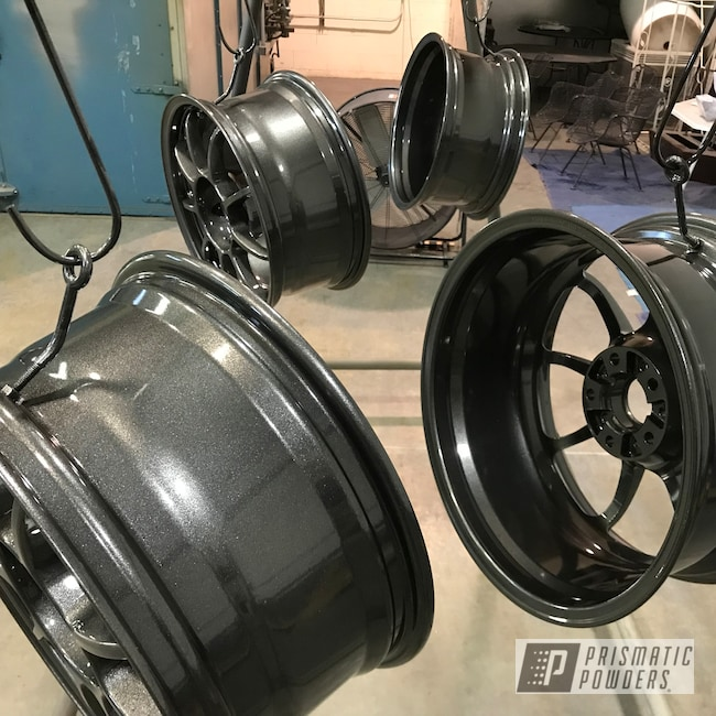 Powder Coating: Wheels,Automotive,Custom Rims,Clear Vision PPS-2974,Rims,Kingsport Grey PMB-5027,Powder Coated Wheels,Two Coat Application