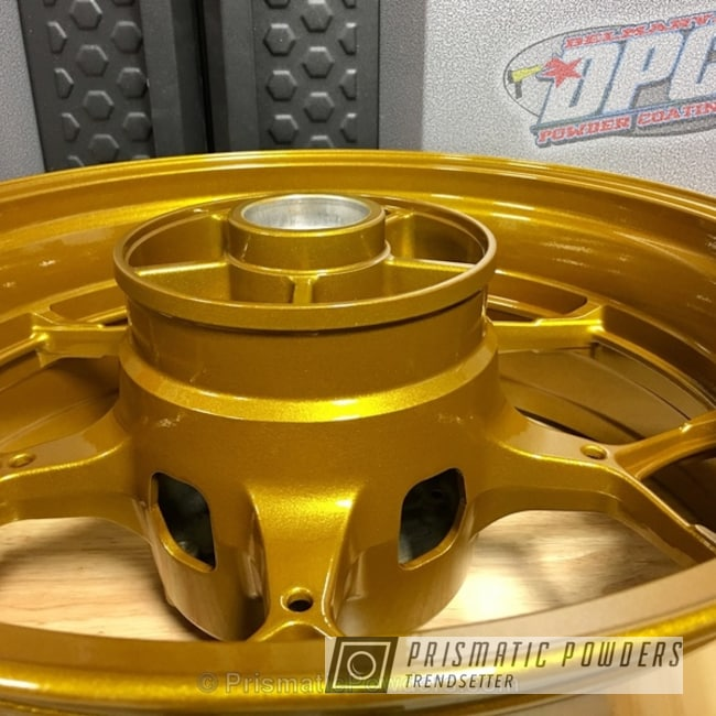 Powder Coating: Wheels,Clear Vision PPS-2974,Illusion Spanish Fly PMB-6920,Clear Coat Used,Yamaha,Motorcycles,Motorcycle Rim
