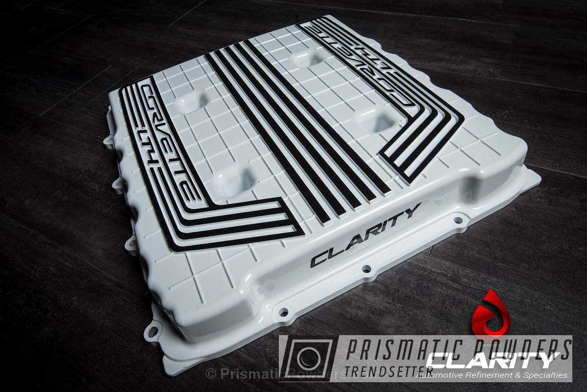 Powder Coating: Automotive,C6 Z06 Supercharger Lid,Clear Vision PPS-2974,Chevy Corvette,Clear Coat Used,Polar White PSS-5053,Three Powder Application,Black Jack USS-1522
