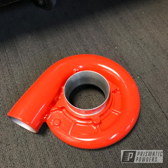 Compressor Side Turbo Housing Sanded Down And Shot In Bright Red