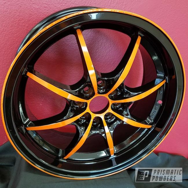 Powder Coating: RAL 2009 Traffic Orange,Automotive,Custom Wheels,Ink Black PSS-0106,Two Color Application