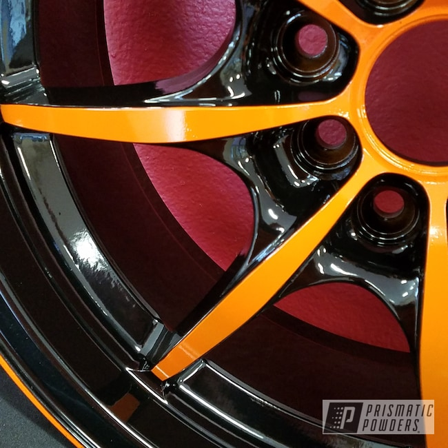 Powder Coating: Automotive,RAL 2009 RAL-2009,Custom Wheels,Ink Black PSS-0106,Two Color Application