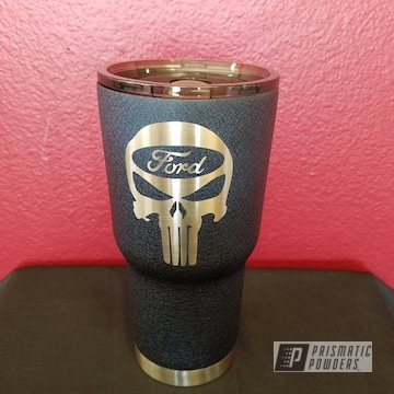 Custom Cup Coated In A Splatter Midnight Textured Finish