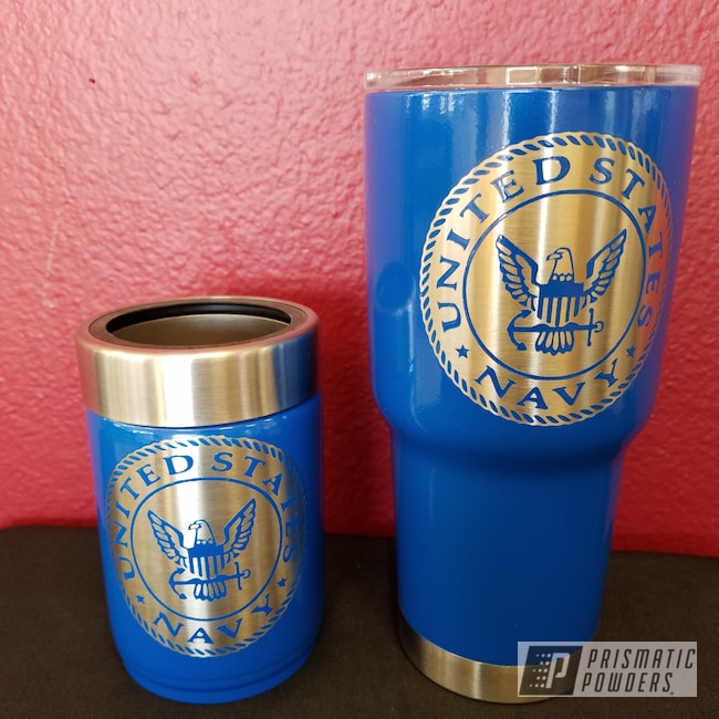Powder Coating: Brazilian Blue PMB-0770,Custom Drinkware,United States Navy,Custom Military Cup,Custom Tumbler Cup