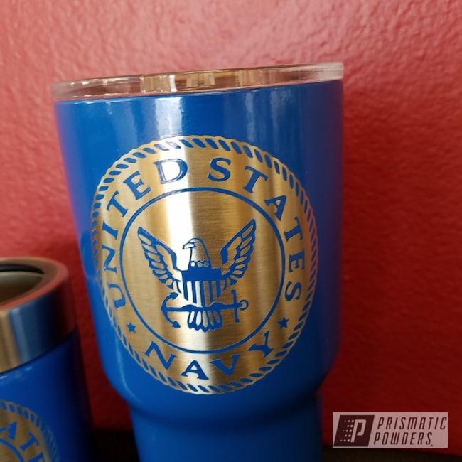 Powder Coating: Brazilian Blue PMB-0770,Custom Drinkware,United States Navy,Custom Military Cup,Custom Tumbler Cup