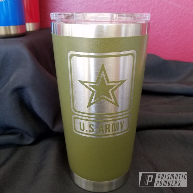 Powder Coating: Military Theme,Tumbler,Custom Drinkware,US Army,Army Green PSB-4944,United States Army