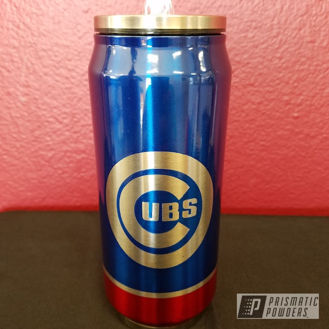 Powder Coating: Custom Cups,Cheater Blue PPB-6815,Baseball,LOLLYPOP RED UPS-1506,Custom Drinkware,Two Color Application,Chicago Cubs,Baseball Theme