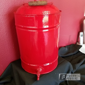 Vintage Water Jug Coated In Ral 3002 A Classic Carmine Red Color