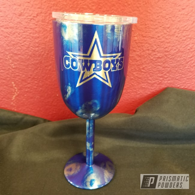 Powder Coating: Cheater Blue PPB-6815,Custom Drinkware,Dallas Cowboys,Custom Wine Glass