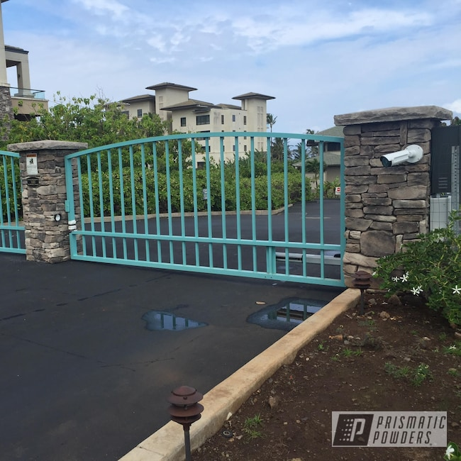 Powder Coating: Resort,Pastel Turquoise,Entry,Powder Coating Hawaii,RAL 6034 RAL-6034,Gate,Luxury Home