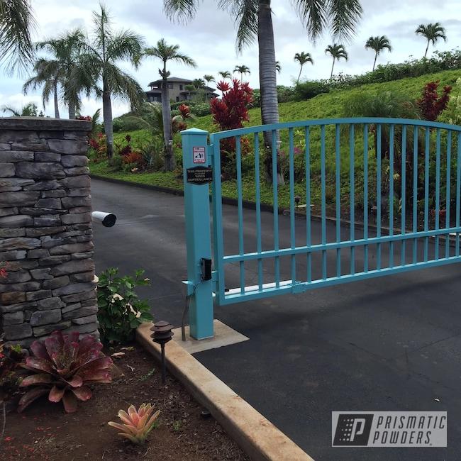 Powder Coating: Resort,Pastel Turquoise,Entry,Powder Coating Hawaii,RAL 6034 RAL-6034,Gate,Luxury Home