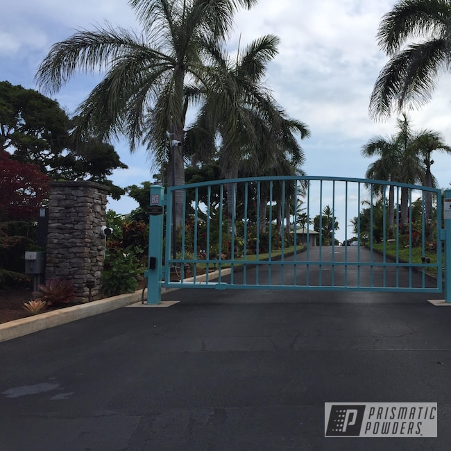 Powder Coating: Resort,Pastel Turquoise,Entry,Powder Coating Hawaii,Gate,RAL 6034 Pastel Turquoise,Luxury Home