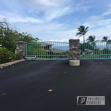 Refinished Metal Gate coated in RAL 6034 a Classic Pastel Turquoise Color
