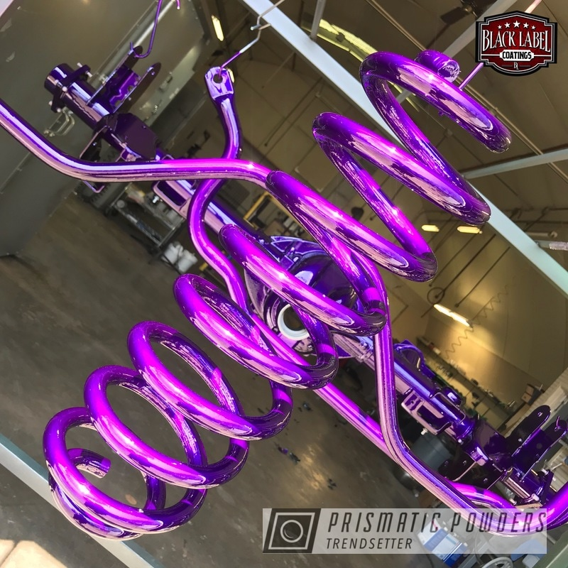 Custom Suspension Parts Coated In Illusion Purple And Clear Vision