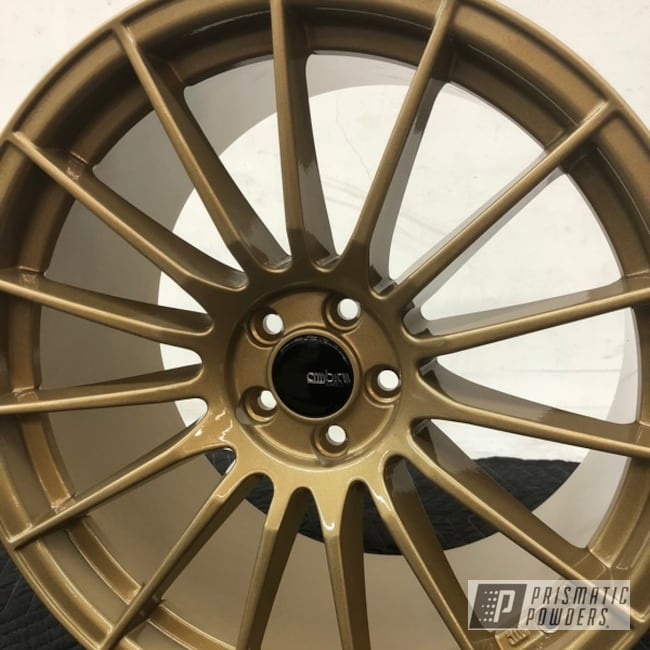 Powder Coating: Wheels,Automotive,Clear Vision PPS-2974,Subaru,Custom 2 Coats,Spanish Gold EMS-0940