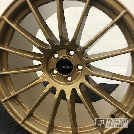 Powder Coating: Wheels,Automotive,Clear Vision PPS-2974,Subaru,Custom 2 Coats,Spanish Gold EMS-0940